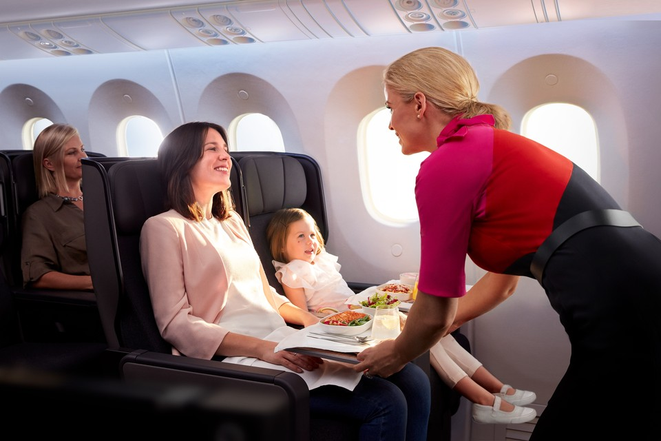 Premium economy cabin on Dreamliner