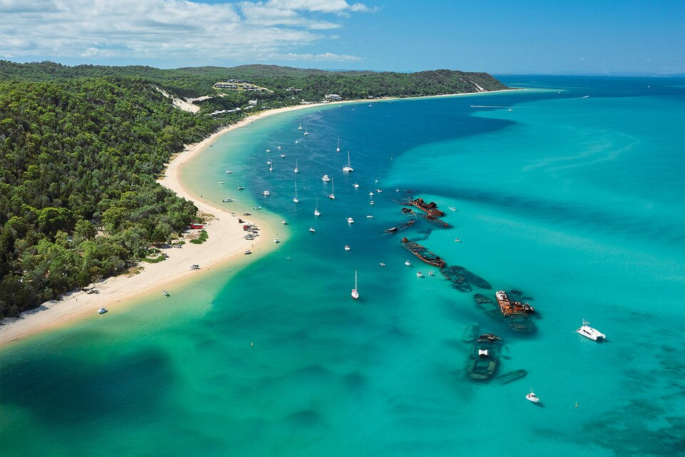 Aerial view of Moreton Island, Queensland