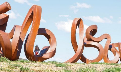 The Wide Brown Land sculpture at the National Arboretum