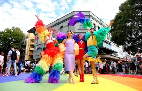 Sydney Mardi Gras rainbow crossing