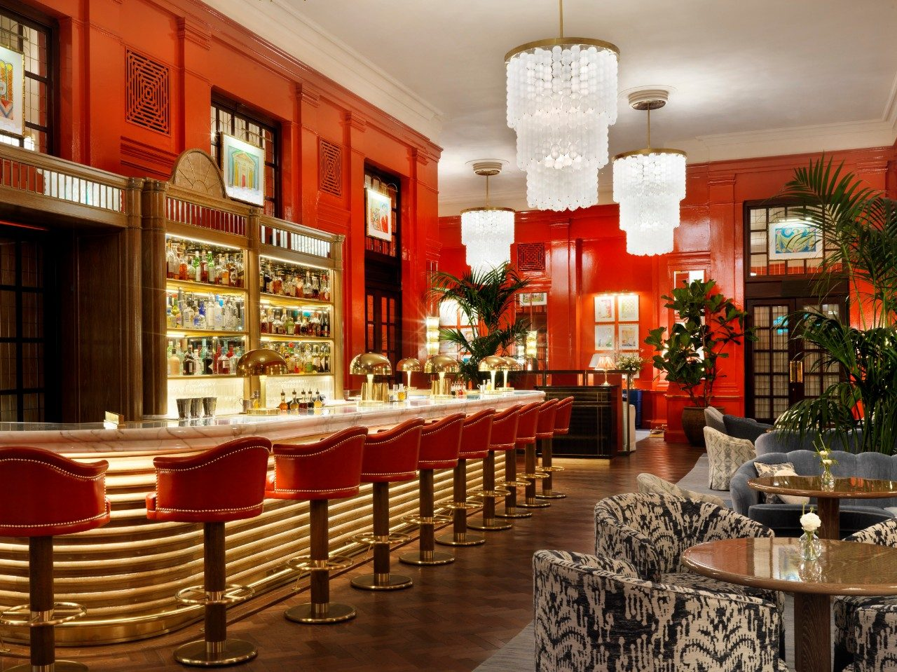 The Coral Room bar at The Bloomsbury Hotel in London