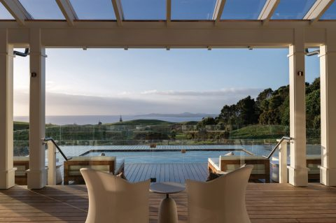 The residences at Kauri Cliffs lodge at Matauri Bay, New Zealand