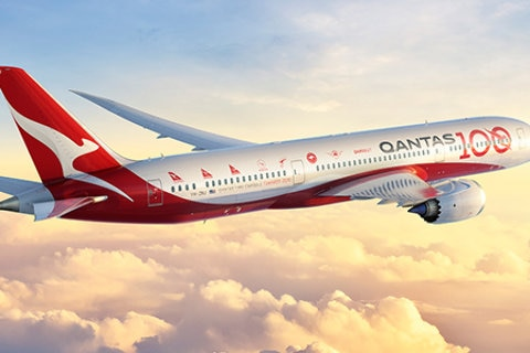 qantas dreamliner aircraft with livery