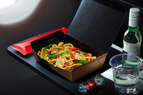 Asian noodles, Economy inflight dining meal B737-800