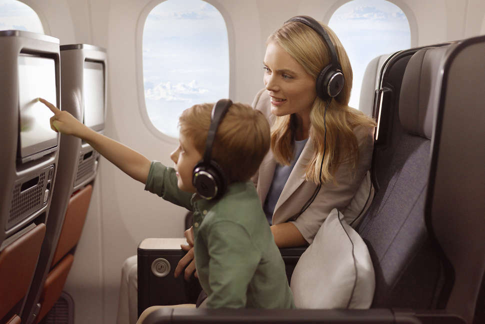 Dreamliner Premium Economy family inflight entertainment