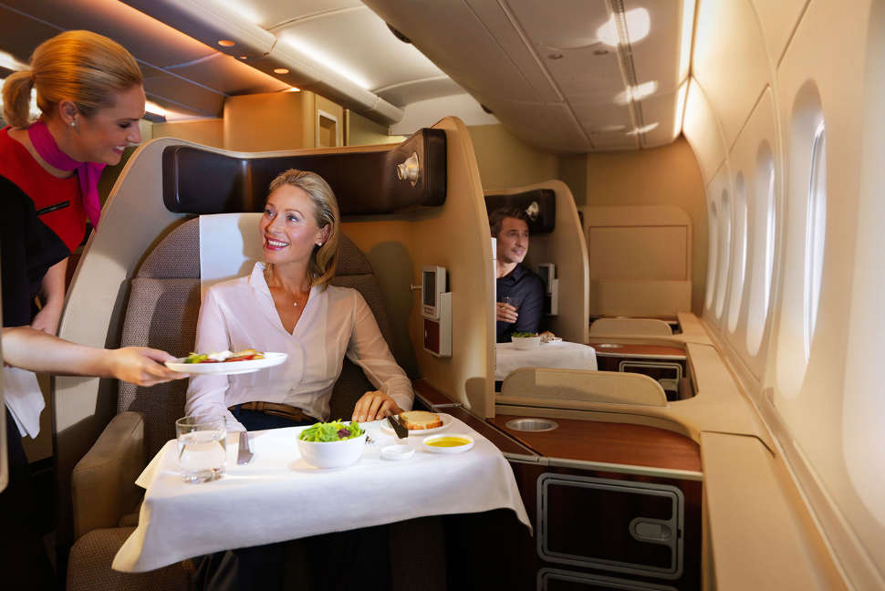 Enjoying à la carte menu in First onboard the A380.