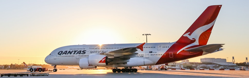 Qantas Airbus A380 at sunrise