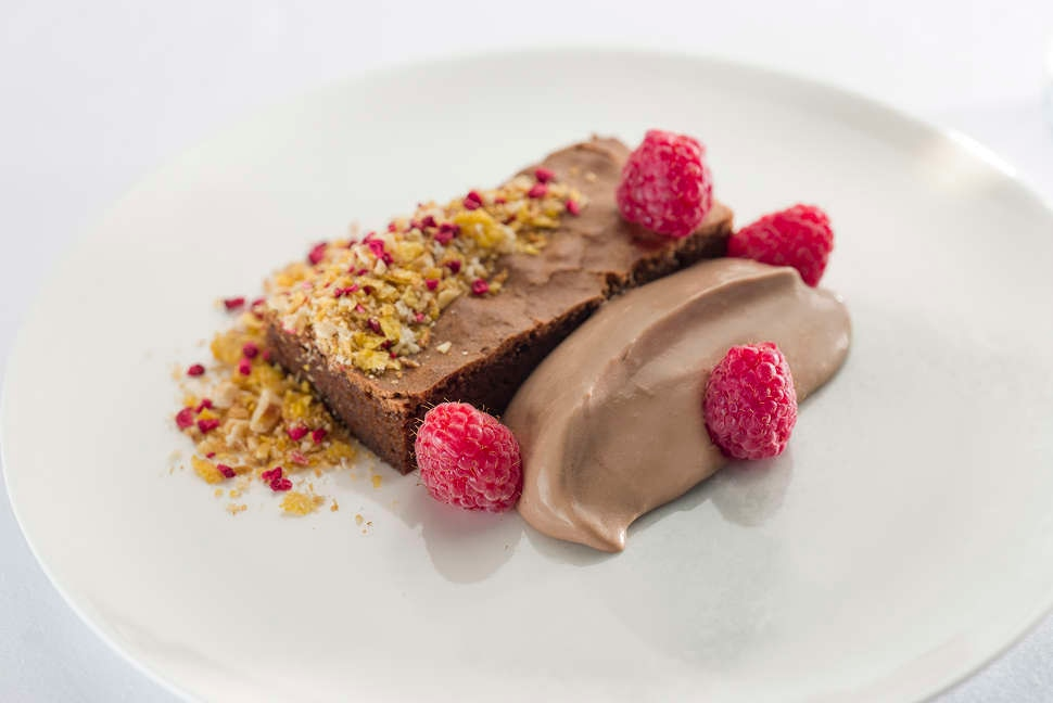 Chocolate almond olive oil cake with raspberries sourdough crumb - First