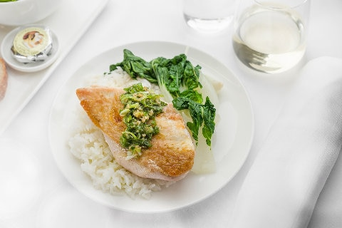Seared chicken breast with ginger and shallot relish, bok choy and jasmine rice - International Business