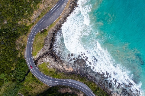 aerial shot of ocean road