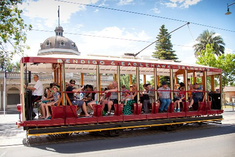 people on tram in Bendigo
