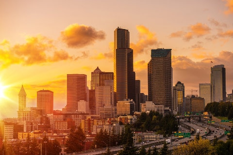 Seattle cityscape at sunset