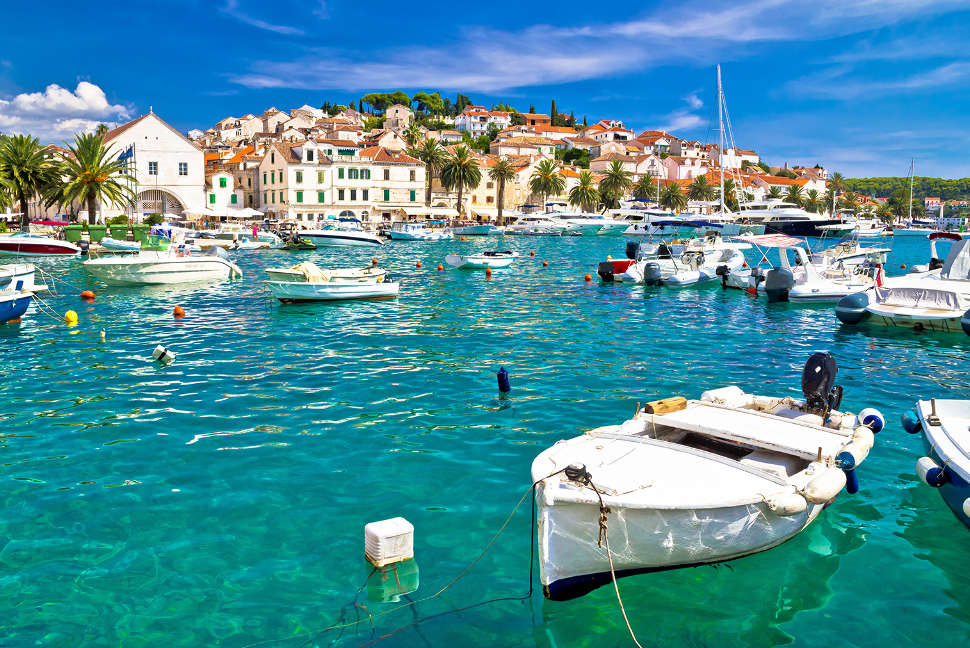 Turquoise waterfront of Hvar island in Dalmatia, Croatia