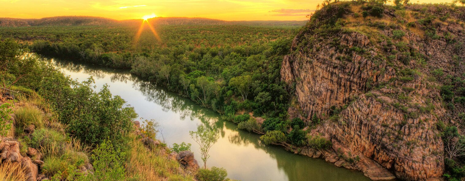 Bushland, river and rock of the Northern Territory, Australia
