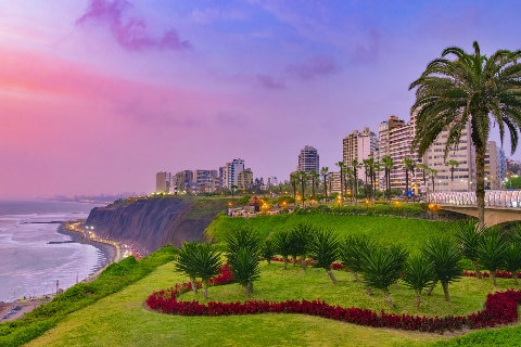 Evening view of Miraflores District, Lima, Peru by the coast
