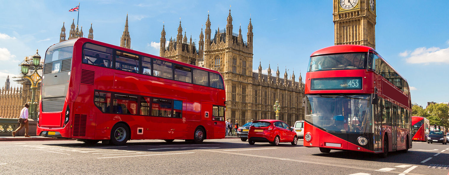 Double decker buses at Parliament House London