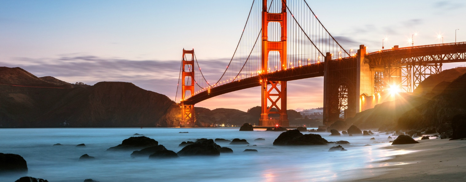 Dawn at the Golden Gate Bridge, San Francisco, USA