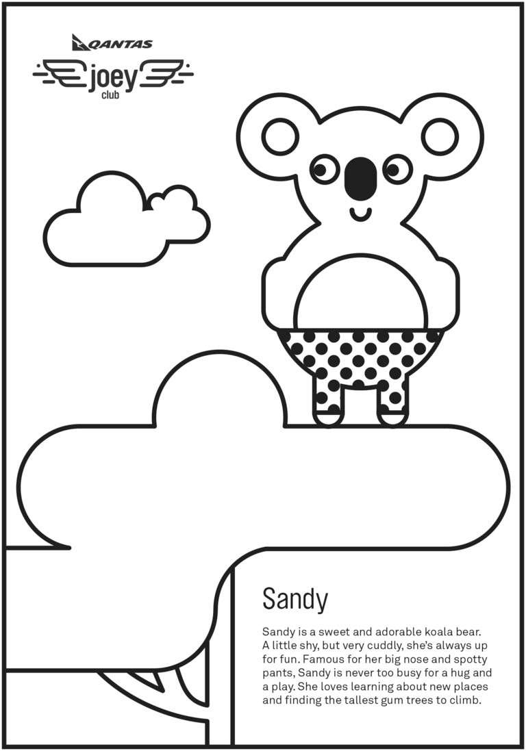Sandy - Qantas Joey Club colouring in activity sheet