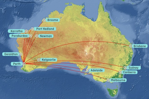 Routes from London Heathrow to Perth