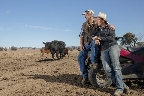 Farming couple in the outback