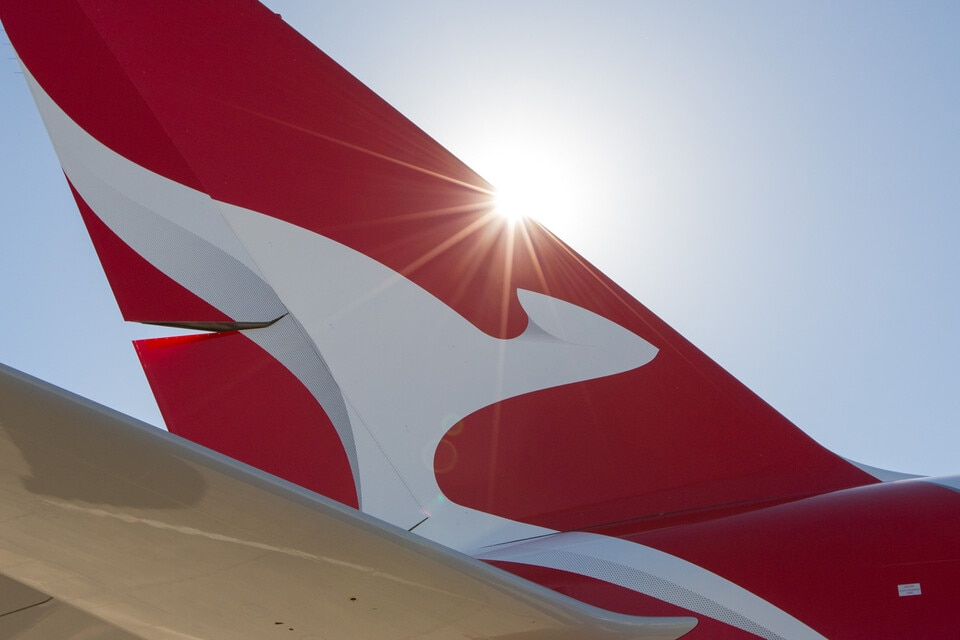 Sun hitting Qantas tail