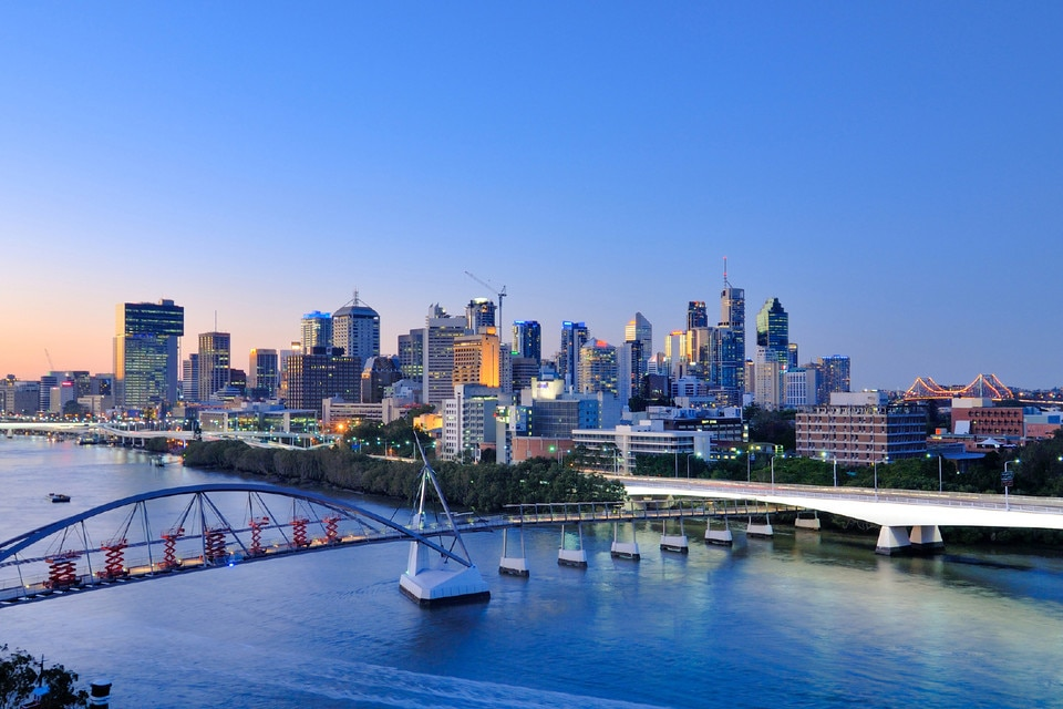 Brisbane city skyline at sunset