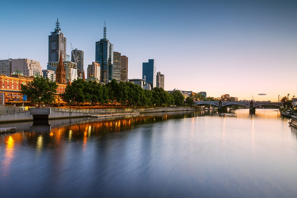 Yarra River in Melbourne City, sunrise