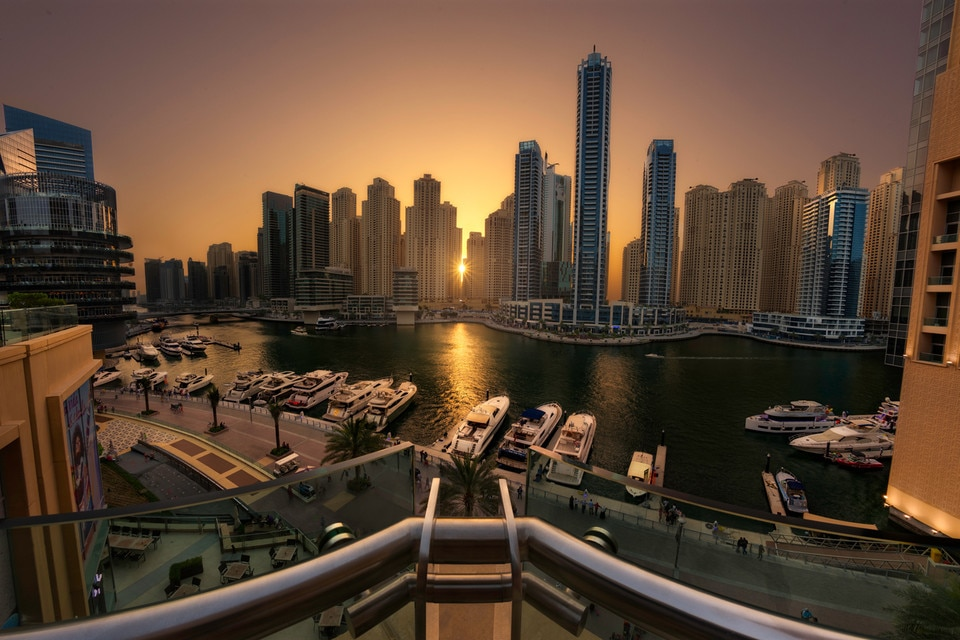 Dubai Marina Towers at sunset, UAE