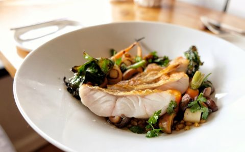 Moxhe cod with grains and veggies