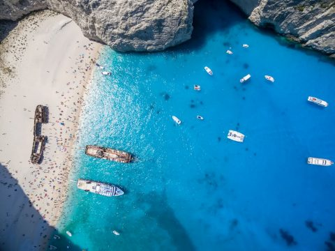 The famous shipwreck at Navagio Beach, Zakynthos, Greece