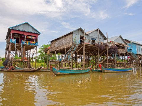 See the Kampong Khleang floating village