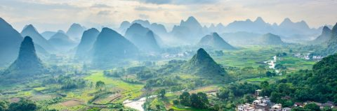 guilin china mountains clouds