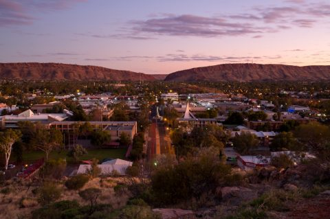 View of Alice Springs from Anzac Hill at Twilight