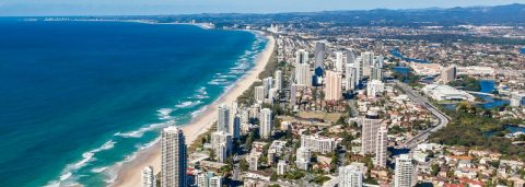 gold coast skyline and beach aerial view