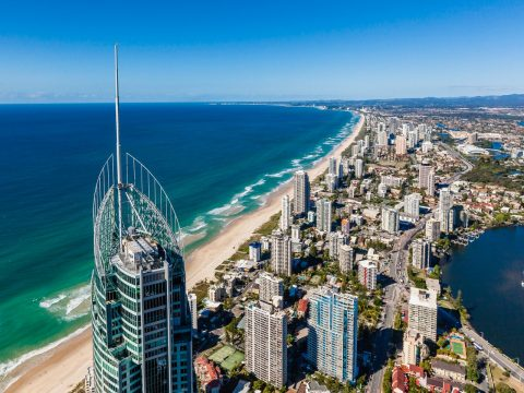 gold coast aerial view ocean sand
