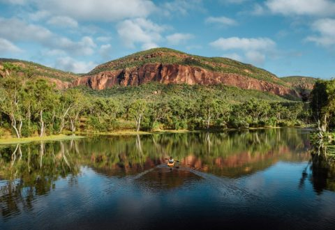 Mount Mulligan reflected in the mirror-like weir, northern Queensland