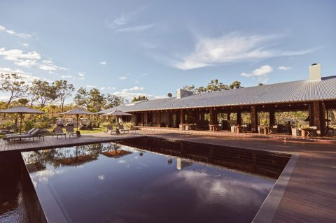 The infinity pool; and the main pavilion, northern Queensland