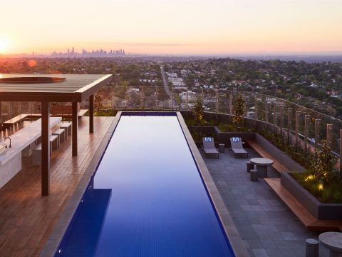 Rooftop pool at The Chen, Box Hill