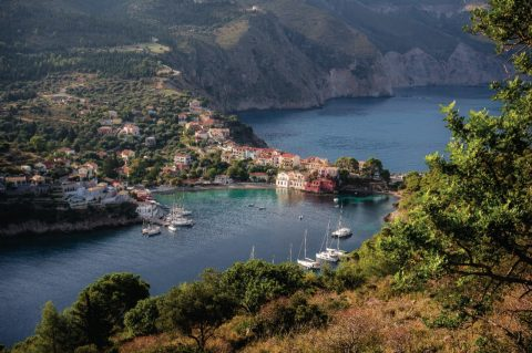 stunning kefalonia waterview town and vegetation