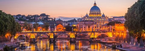 View of River Tiber and St Peter's Basilica, Rome, Italy