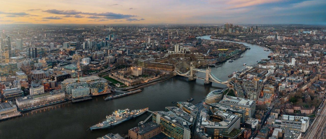 Aerial image of London with the Thames