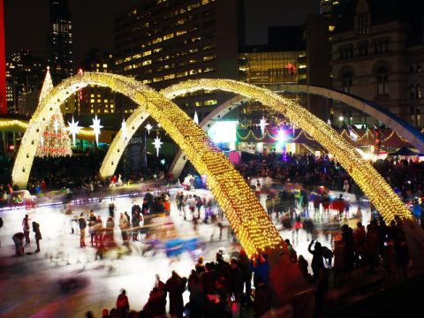 Skate in winter at Nathan Phillips Square