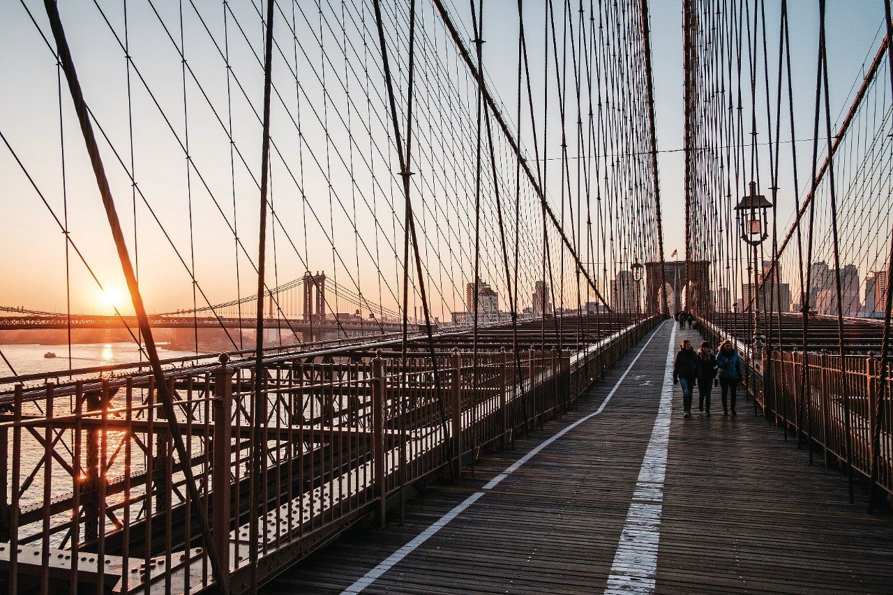 Brooklyn Bridge in New York at sunset