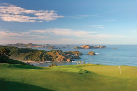 Par 72 Championship golf course at Kauri Cliffs lodge at Matauri Bay, New Zealand