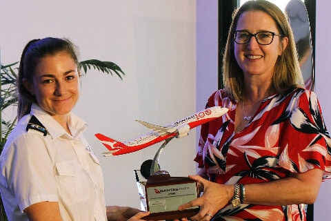 Qantas Group Award for inclusive leadership, academic achievement and exceptional flight standards was presented to Sophie Percival