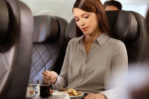 Lady in Business seat on B717