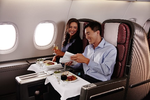 Couple in business class on A380