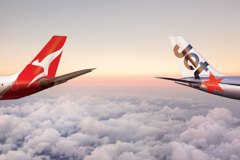 Qantas and Jetstar aircraft tails