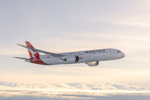 Qantas Dreamliner flying through the sky