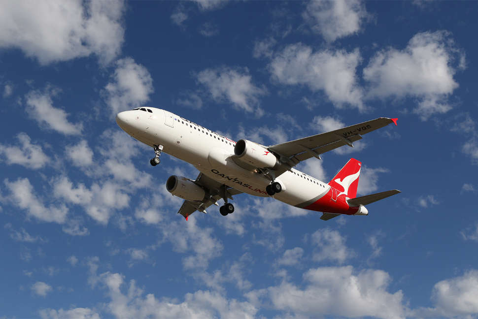 Qantas A320 plane taking off